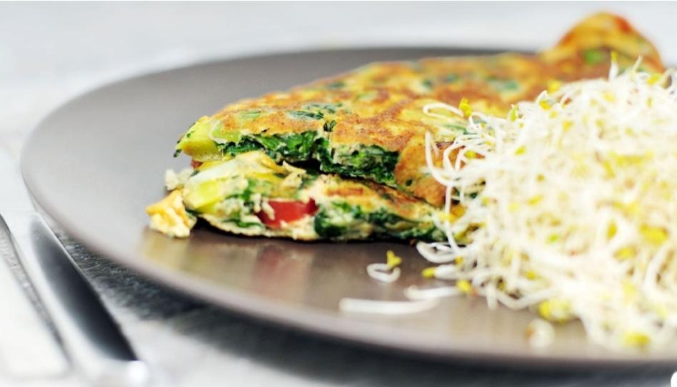 Groenten Omelet met kip & avocado